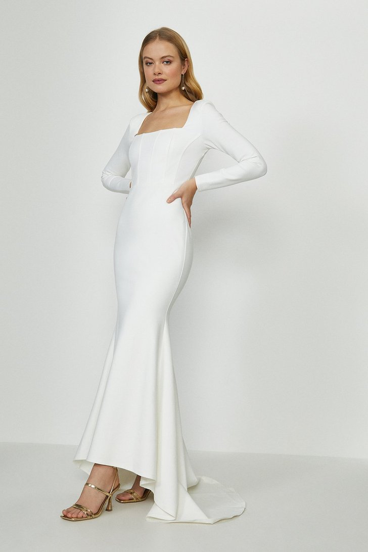Long Sleeve Bridal Maxi Dress With Trail