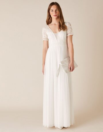 Monsoon Beth beaded floral plunge bridal dress ivory