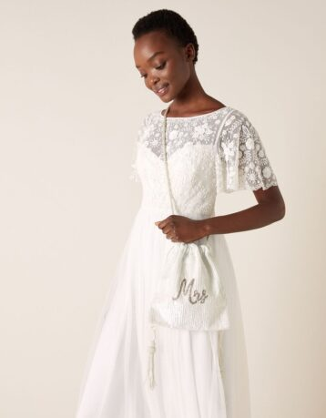 Monsoon Mrs beaded drawstring bridal bag, White