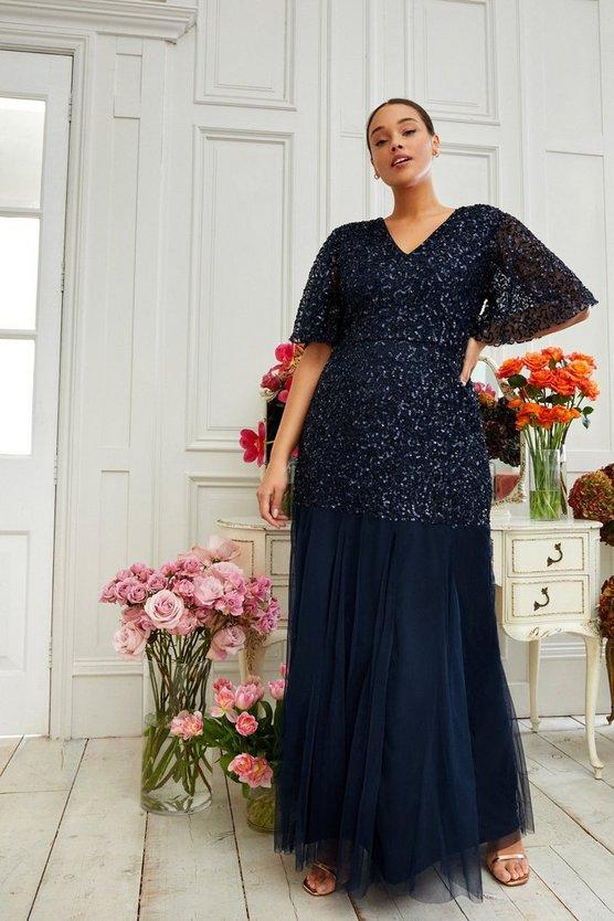 Curve Angel Sleeve Sequin Maxi Dress