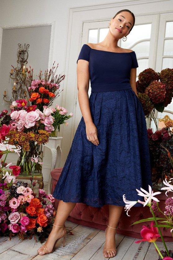 Curve Bardot Neck Embroidered Midi Dress