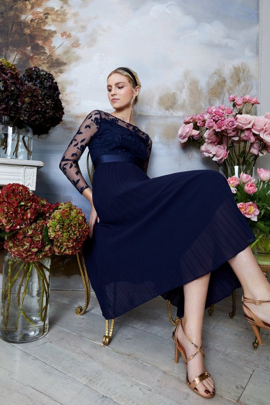 Embroidered Long Sleeve Midi Dress, was £129 > now £90.30