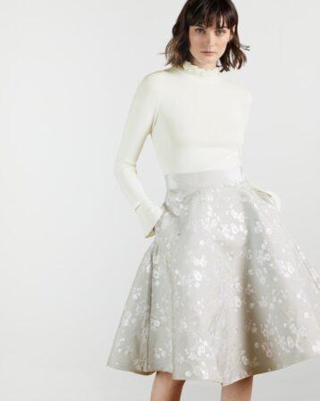 Ted Baker ALDARA Blossom Jacquard Midi Dress White Silver