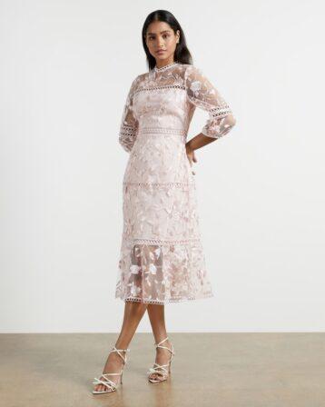 Ted Baker TABII Tiered lace midi dress Light Pink Blush