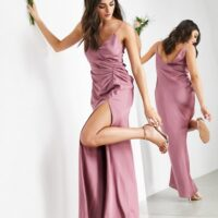 ASOS EDITION satin cami maxi dress with drape detail in orchid/purple
