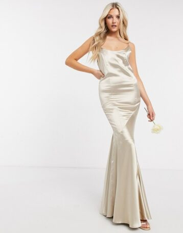 ASOS DESIGN Bridesmaid satin scoop maxi dress with panelled skirt and button back Oyster