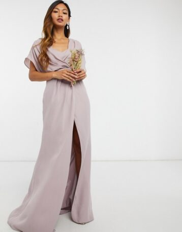 ASOS DESIGN Bridesmaid short sleeved cowl front maxi dress with button back detail Grey