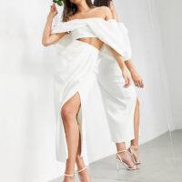 ASOS EDITION drape front bridal skirt ivory