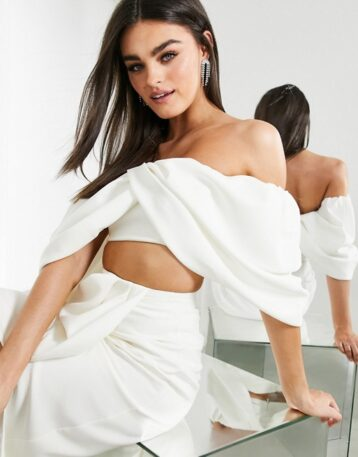 ASOS EDITION drape off shoulder bridal top Ivory