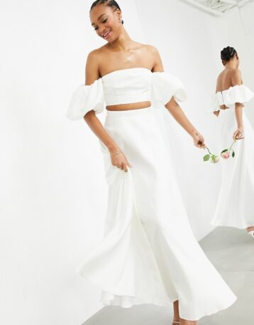 ASOS EDITION Bridal satin bandeau crop top and full maxi skirt in Ivory co ord