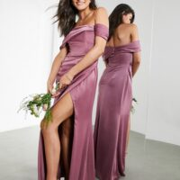ASOS EDITION satin bardot drape wrap maxi dress orchid purple