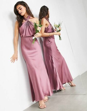ASOS EDITION satin ruched halter neck maxi dress in orchid purple