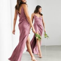 ASOS EDITION satin cami maxi dress with drape detail in orchid purple