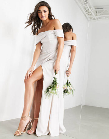 ASOS EDITION satin cami maxi dress with drape detail in silver