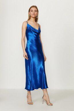 Coast Cowl Neck Midi Dress Cobalt Blue