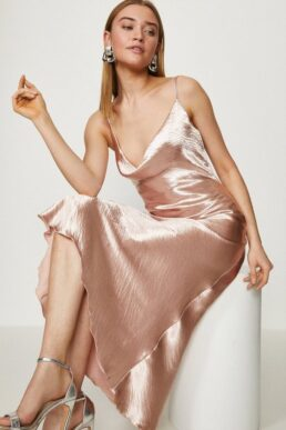 Coast Cowl Neck Midi Dress Rose Gold Blush