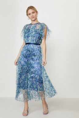 Coast Lace Mesh Printed Dress With Pleated Skirt Blue Multi