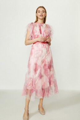 Coast Lace Mesh Printed Dress With Pleated Skirt Pink Blush