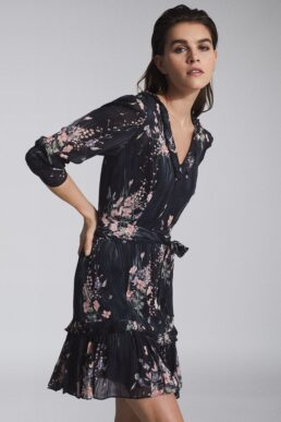 Reiss Shannon Floral Printed Midi Dress Print Navy Blue Multi