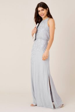 Monsoon Bianca Embellished Maxi Bridesmaid Dress Light Blue