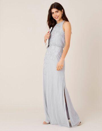 Monsoon Bianca Embellished Maxi Bridesmaid Dress Light Blue
