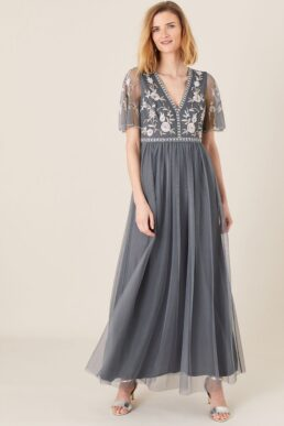 Monsoon Caterina embroidered maxi bridesmaid dress blue white