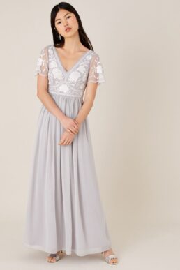 Monsoon Daphnee embroidered maxi dress grey white