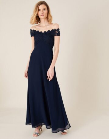 Monsoon Dawn lace bardot maxi dress navy blue
