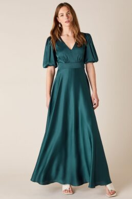 Monsoon Kristen puff sleeve satin bridesmaid dress teal green