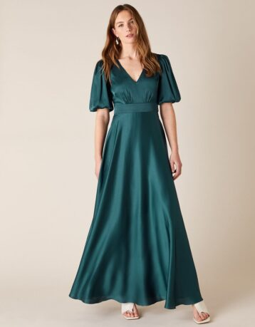 Monsoon Kristen puff sleeve satin bridesmaid dress teal green