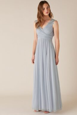 Monsoon Mischa embellished tulle maxi bridesmaid dress light blue