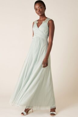 Monsoon Mischa embellished tulle maxi bridesmaid dress light green