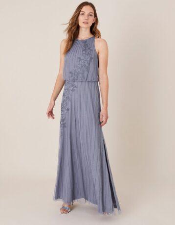 Monsoon Summer beaded floral maxi dress blue
