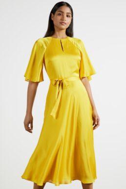Ted Baker HARIIET Raglan sleeve tea midi dress Yellow