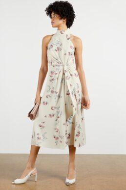 Ted Baker ZOEEEY Halterneck Occasion Midi Dress Natural Multi