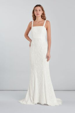 Whistles Mia Lace Square Neck Wedding Dress Ivory
