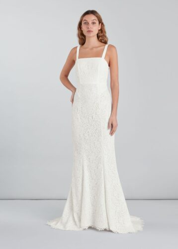 Whistles Mia Lace Square Neck Wedding Dress Ivory
