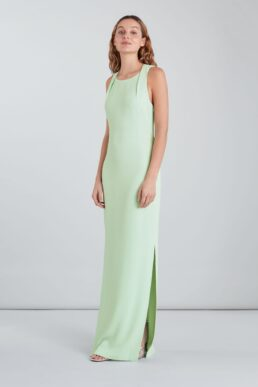 Whistles Tie Back Maxi Dress Light Green Mint