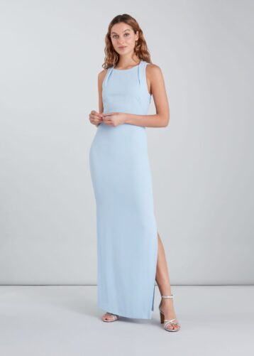 Whistles Tie Back Maxi Dress Light Blue