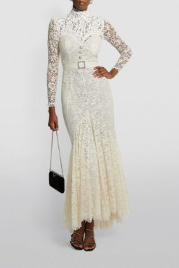 Alessndra Rich Lace High-Neck Maxi Wedding Dress White