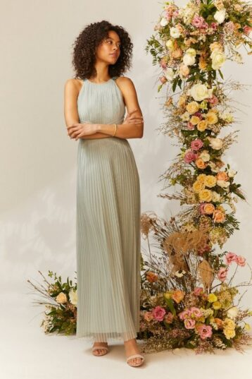 Coast All Over Pleated Maxi Bridesmaid Dress Sage Green