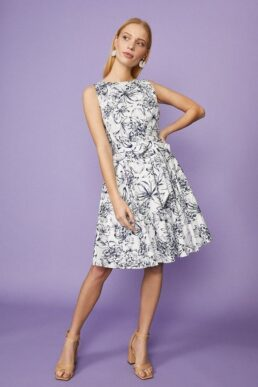 Coast Cotton Fit And Flare Floral Print Dress White Navy Blue