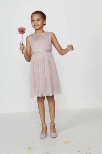 Coast Girls Sequin Waist Bridesmaids Dress Pink Blush