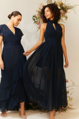 Coast High Neck Cut Out Maxi Bridesmaid Dress Navy Blue