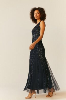 Coast Sequin Split Skirt Maxi Dress Navy Blue