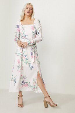 Coast Square Neck Long Sleeve Midi Dress White Pink Multi