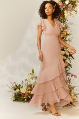 Coast Tiered Hem Ruffle Maxi Bridesmaid Dress Light Blush Nude