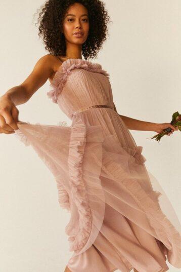 Coast Tiered Ruffle Skirt Midi Dress Blush Light Pink