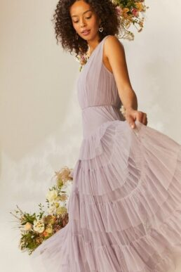 Coast Tulle Tiered Maxi Bridesmaid Dress Lilac Light Purple Grey
