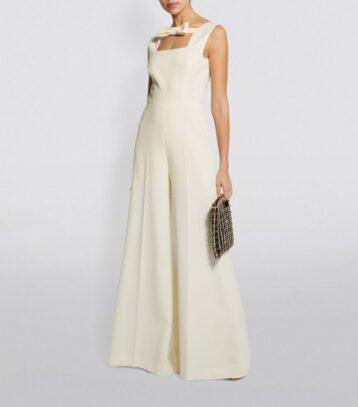 Emilia Wickstead Rosabella Bridal Wide-Leg Jumpsuit Ivory